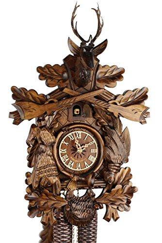 Eble - Orologio a cucù, originale della Foresta Nera, codice: 38-22-12-80, in vero legno, dotato di movimento meccanico a 8 giorni, con certificazione VDS, decorazione con cervo, ideale per cacciatori, 45 cm