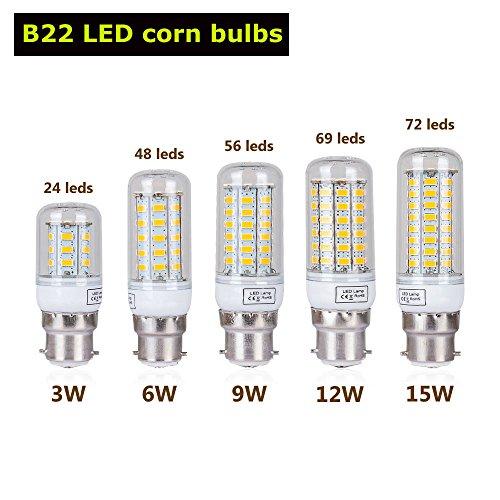 HUPLUE LED-Glühbirnen E27/E14/B22/G9, in 3 W, 6 W, 9 W, 12 W, 15 W verfügbar, SMD 5730, Röhrenform, 10er-Pack, B22, E14, 3.0W