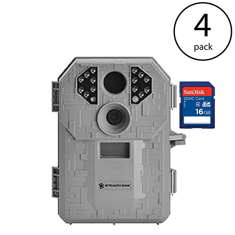 Stealth Cam P14 7MP 50 Foot Infrared Video Hunting Scouting Game Trail Camera (4 Pack) SanDisk 16GB SD Memory Card (4 Pack) jv083018409