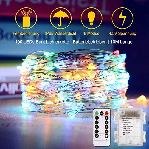 Trylight 20m 200 LED Luci Filo di Rame, Batteria, Telecomando a 8 ModalitÀ, Luci Decorative Impermeabili per Festival Stagionali LED IP44 (Bianco Caldo)