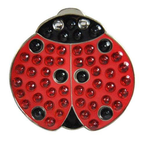 Navika Crystal Golf Ball Marker & Hat/Visier Clip–Lady Luck (Lady Bug)