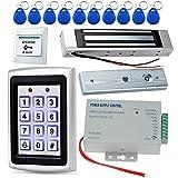 CIFY Kit controllo accessi, 1000 utenti Tastiera in metallo 125KHz + Serratura magnetica elettrica 180KG + Alimentatore DC12V 3A + Pulsante di uscita porta + 10 portachiavi ID RFID 125KHz