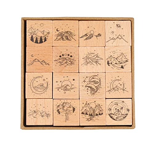 Cliocoo 16pcs Moon Star Mouantain Sea River Wood Rubber Stamp Set M-79 (Mountain Ocean)