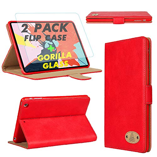 Gorilla Tech iPad Pro 12.9 2nd and 1st Generation Leather Case and Screen Protector Magnetic Flip Stand Shockproof cover Protective 2-Pack Red iPad Model A1670 A1671 A1584 A1652