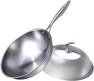 LIRIDP キッチンポット ステンレス製の中華なべ鍋ノンスティッククックを注いで、中華鍋で炒めるフライパンとハンドル多目的ガス/誘導用、33 cm(13インチ)、シルバー