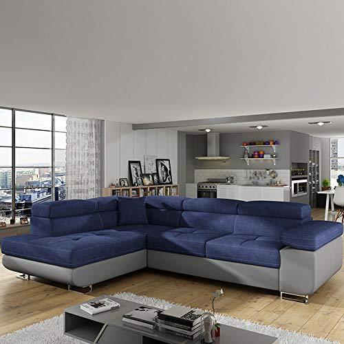 Bank hoekbank links uittrekbaar stof blauw Willis 10