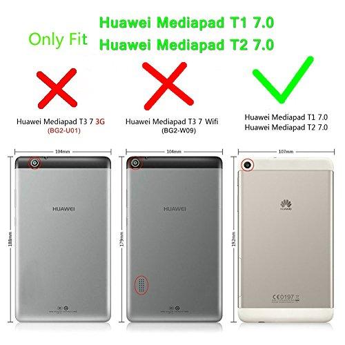 Kepuch Custer Huawei Mediapad T1 7.0 / T2 7.0 Hülle - Shell Schutzhülle PU Tasche Smart Case Cover für Huawei Mediapad T1 7.0 / T2 7.0 - Schwarz - 2