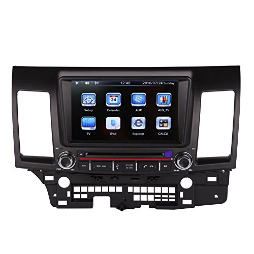8 Inch Car GPS Navigation System for MITSUBISHI LANCER 2007-2015 Car Stereo DVD Player+Bluetooth+Radio+Steering Wheel Control+RDS+Sd/usb+AUX IN+Free Backup Rear View Camera+Free US Map by Indiny
