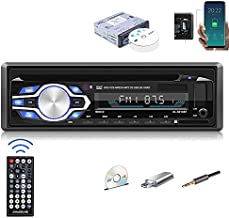 Single Din Car Stereo Bluetooth 1Din Car DVD Player with Hands Free Calling Support CD/VCD/MP3/FLAC/USB/SD/AUX/FM Radio for Truck+ Wireless Remote Control