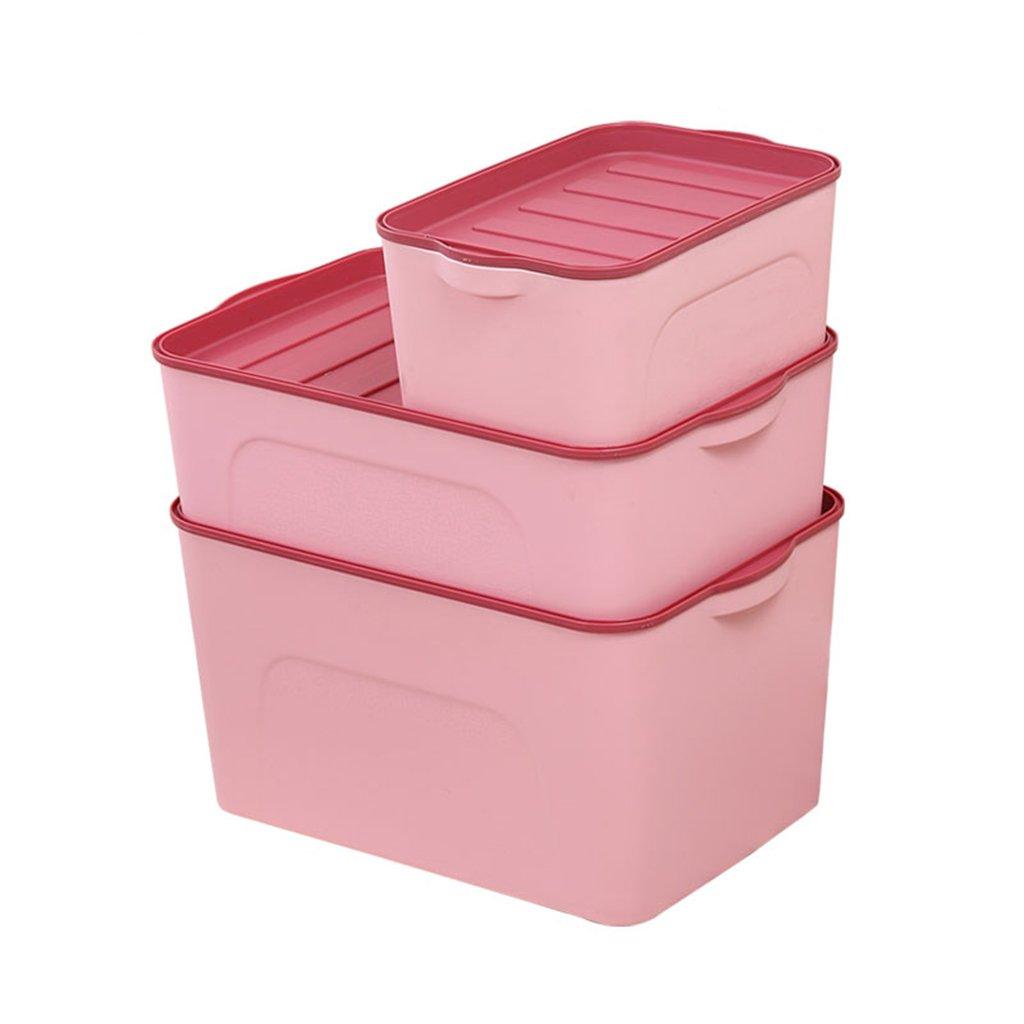 C-Bin-1 Caja de Almacenamiento de cosméticos, Escritorio Espesar Plástico Cubierto Dormitorio Ropa Infantil Ropa Interior Caja de comestibles Tres 32-44 CM Necesidades diarias (Color : Pink): Amazon.es: Hogar