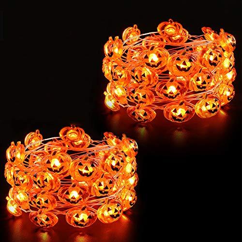 DooVee Halloween Pumpkin Lights, 2 Packs 13.5ft 40 LED Battery Operated Led Pumpkin String Lights, Halloween Decorations String Lights