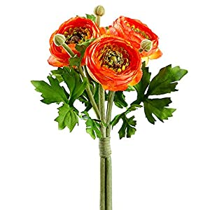 SilksAreForever 9.5″ Silk Ranunculus Flower Stem Bundle -Orange (Pack of 12)