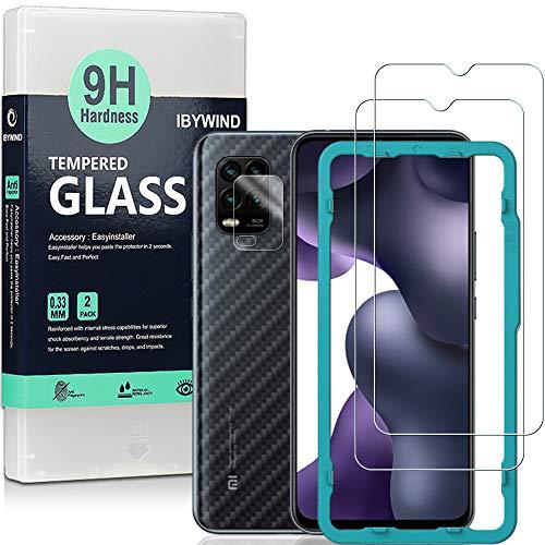 Ibywind Vetro Temperato per Xiaomi Mi 10 Lite [Confezione da 2] con Protezione Obiettivo Fotocamera,Skin in Stile Fibra di Carbonio per Il Retro, Include Kit di Installazione Facilitata