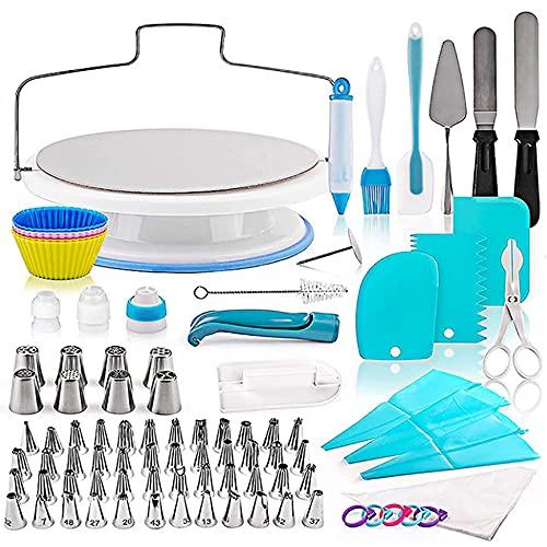 Kit de 140 piezas para decoración de pasteles, herramientas de repostería con tocadiscos giratorios para tartas,suministros para hornear pasteles para principiantes y amantes de los pasteles
