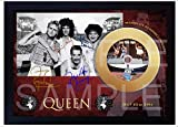 SGH SERVICES NUEVO! Freddie Mercury Queen Live Aid WEMBLEY STADIUM Mini disco de vinilo dorado firmado con marco vintage