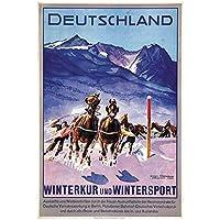 zkpzk ドイツ旅行ポスタードイツ競馬クラシック壁アートワークキャンバス絵画ヴィンテージポスターホームバーの装飾ギフト-50X70Cmx1フレームなし