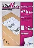 AVERY - Boite de 100 étiquettes intégrées autocollantes Stick'Ngo, Format 120 x 164 mm, Compatible Colissimo, Impression laser / jet d'encre