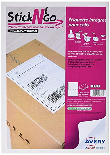 AVERY - Boite de 100 étiquettes intégrées autocollantes StickNgo, Format 120 x 164 mm, Compatible Colissimo, Impression laser / jet dencre