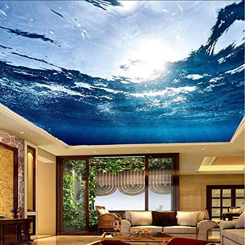 Fototapete 3d Effekt Benutzerdefinierte Große Deckenbild Hd Blau Meerwasser Natur Wallpaper Tapete 3D Vliestapete Kinderzimmer Schlafzimmer Wohnzimmer Tapeten Wanddeko Wandbilder 300cmx210cm