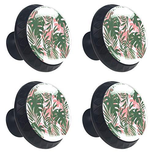 [4 unidades] perillas de aparador – Manija decorativa colorida del cajón para decoración del hogar Hardware Tiradores de metal colorido patrón de hojas tropicales