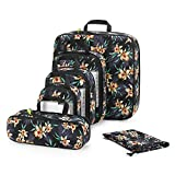 Gonex 6pcs Travel Compression Packing Cubes Set, Extensible Storage Mesh Bags, Water Repellent Polyester Flower Printed Travel Clothes Organizers Luggage Cubes with Laundry Bag (Black)