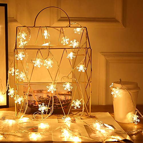 LED Christmas Lights, 30 LED Snowflake String Lights Battery Operated Waterproof Lights with 8 Lighting Modes Warm White Bedroom Patio Room Garden Party Home Indoor Outdoor Christmas Tree Decorations