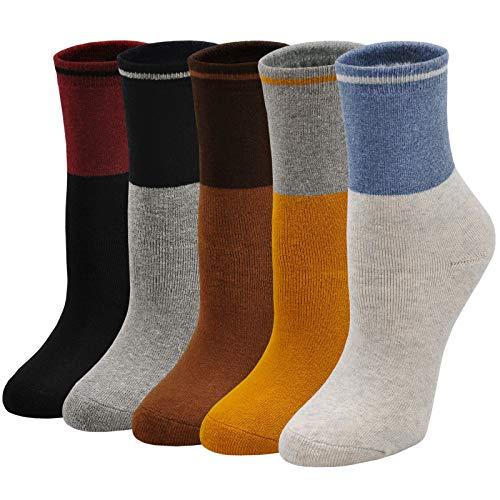 LOFIR Dicke Damen Socken Winter Thermo Socken Warme Strümpfe aus Baumwolle Süß Tiermuster Cartoon Socken Mädchen Weihnachtssocken, Größe 35-41, 5 Paar