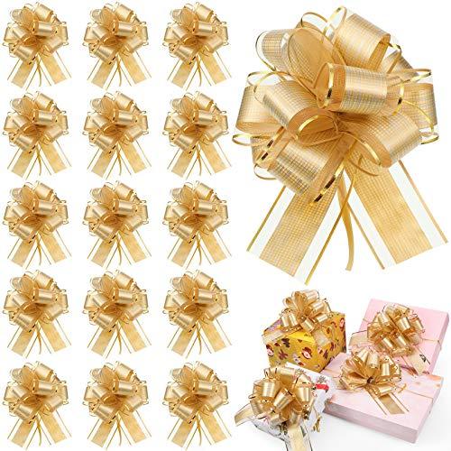 20 Lazos de Tirar de Envolver de Navidad Lazos de Tirar de Cinta para Cestas de Boda, Lazo de Cinta Multicolor para Envolver Caja o Decoración Floral, 6 Pulgadas de Diámetro (Color Dorado)