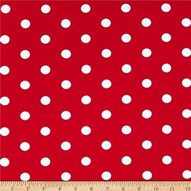 Fabric Merchants Cotton Spandex Jersey Knit Polka Dot Red/Ivory Fabric by the Yard