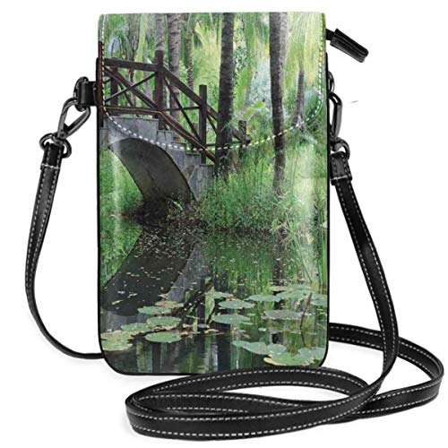 Women Small Cell Phone Purse Crossbody,Green Landscape In South China Palm Trees And Bushes Lush Growth Nature