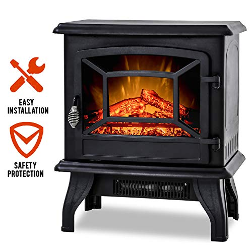 "Electric Fireplace Heater 20"" Freestanding Fireplace Stove Portable Space Heater with Thermostat for Home Office Realistic Log Flame Effect 1500W CSA Approved Safety 20"" Wx17 Hx10 D,Black Heater Portable Space"