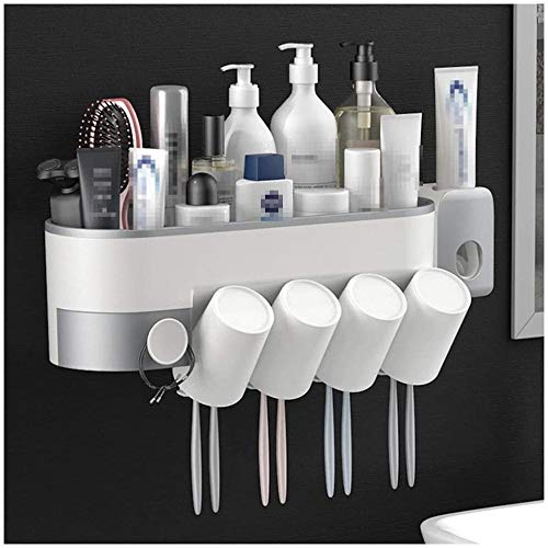 Toothbrush Holder Toothbrush Holder Toothpaste Stand Razor Wall Mounted Storage Rack Organizer Multifunctional Brush Heads Protection Cover Auto Toothpaste Dispenser Bathroom MUMUJIN