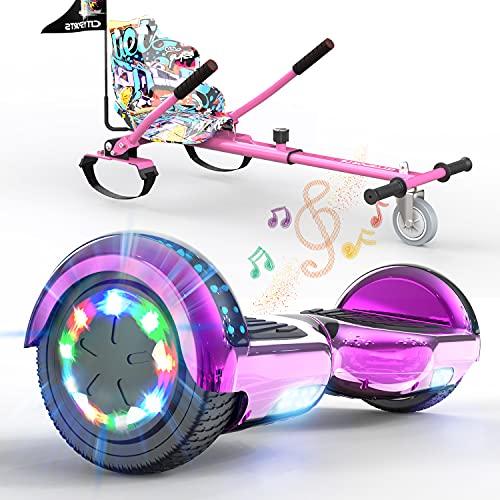 SOUTHERN WOLF Hoverboards para niños, patinetes eléctricos con Altavoz Bluetooth y Luces LED de Rueda de Colores, Asiento de Karting Adecuado para niños y Adolescentes