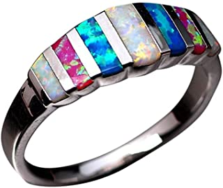 winsopee New Opal Ring Lucky in Love Stone Wedding Band Engagement Ring