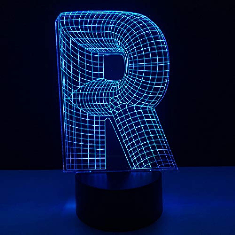 WZYMNYD 3D Mode Schreibtischlampe 7 Farben ndern Home Decor USB Neuheit Alphabet Buchstaben R Formen Schlaf Beleuchtung Led Kinder Geschenke Nachtlicht