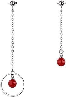 Ai.Moichien Women Beads Chain Beads Drop Dangle Stud Earrings 925 Silver Sweet Dainty Statement