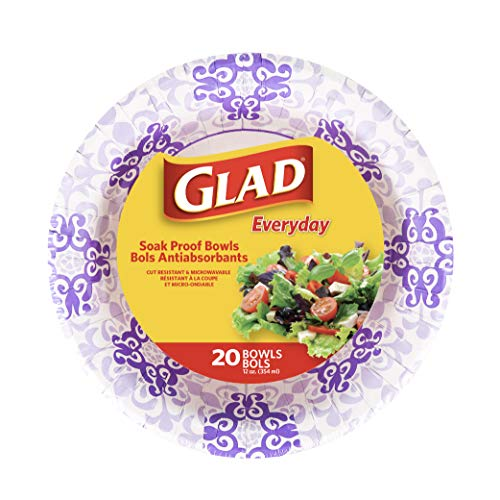 Glad Paper Bowls With Purple Victorian Design, 20Count | Disposable Paper Bowls for Parties & Picnics In Victorian Print | Microwave Safe Disposable Purple & White Bowls