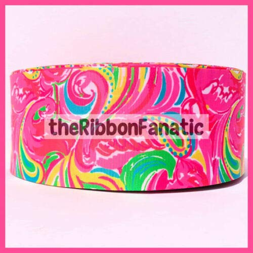 Ribbon Bows Crafts Ribbons for Gifts Wrapping Party Wedding - 3 yds 3' Lilly Fabric Inspired All Nighter Flamingo Grosgrain Ribbon