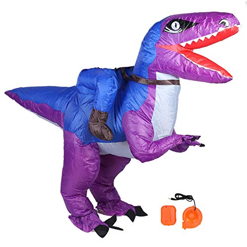 Costume Gonfiabile da Dinosauro, Abbigliamento da Festa di Halloween con Aeratore, Costume Gonfiabile Trex per Adulti Kid Festivals Decorazione per Feste - Impermeabile e Leggero(Blu e Viola)
