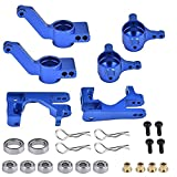 Globact Aluminum Alloy Caster Block&Steering Blocks C-Hubs Stub Axle Carriers Left & Right with Ball Bearings for Traxxas 1/10 Slash 4x4 Stampede Rustler 4WD Replaces Part 6837 6832 1952