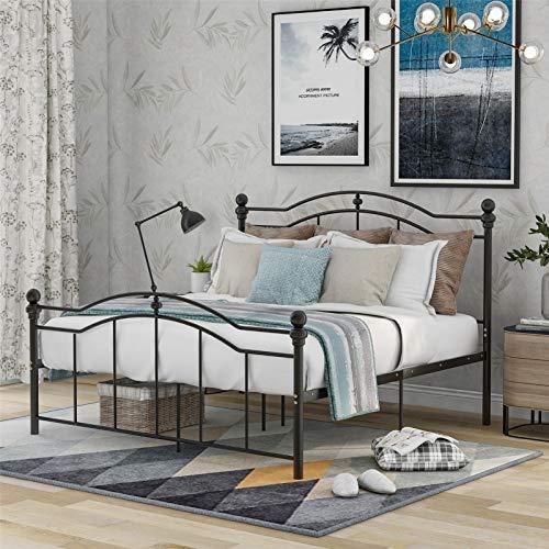 uyhghjhb Doppelbett Bettgestell mit Lattenrost Gästebett Metallbett mit Erwachsene Master Schlafzimmer Metall Bett Geformte große Lagerfläche Kinder Erwachsene, schwarz 140 * 200cm