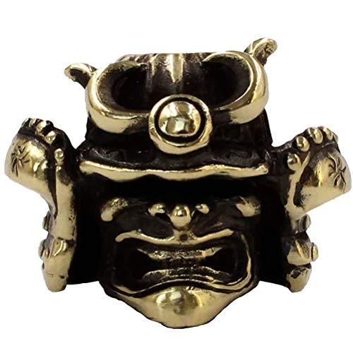 Asolym Paracord Perle Handgegossener Samurai Helm Messing Charms EDC Zubehör für Anhänger Schnalle Schlüsselbund Anhänger Messer Lanyard Reißverschluss Mit Paracord Random Colors ziehen
