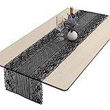 mookaitedecor Runner da tavolo rettangolare in pizzo nero con motivo ricamato, bandiera da...