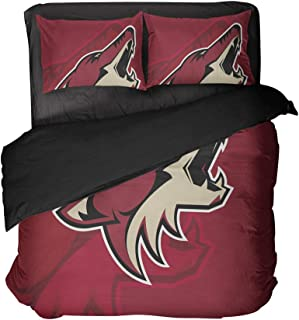 Magaport Arizona Hockey Bedding 3D Printed Wolf Bed Set Sportsmen Flat Sheets Boy's Bedspread Queen 3pcs Cover