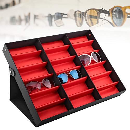 AYNEFY Expositor para gafas, 18 rejillas expositor para gafas de sol, caja para gafas, organizador de joyas