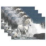 Placemats White Horse in The Waves - Juego de 6 moldes resistentes para mesa de comedor y comedor