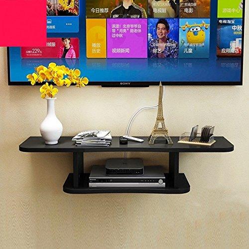 Kronleuchter Sala de Estar TV Set Top Box Rack Estante de Pared Multicolor Dormitorio Clapboard Wall Shelf TV Cabinet (Color : Black)