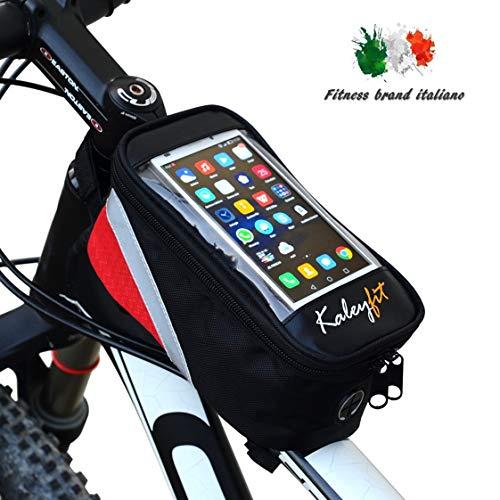 Kaleyfit Borsa Telaio Bici Anteriore Manubrio Porta Cellulare Touch Screen, Supporto Impermeabile Smartphone iPhone per Bicicletta MTB Mountain Bike, Telefono Fino a 6.5 Pollici, Accessori Uomo Donna