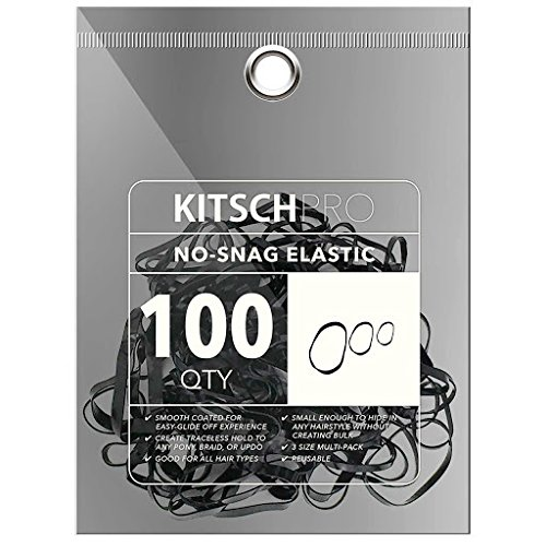 Kitsch Pro No-Snag Mini Gummy Elastic Hair Bands for Hair Styling, Braids, Ponytails, Hair Ties for Toddlers, 100 Count (Black)