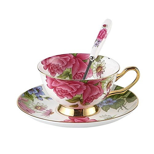 Touch Life - Set di tazze da tè e caffè con piattino, in porcellana Bone China, con rose rosa, colori: bianco e rosa, Porcellana, Multi, Set of 1 with gift box